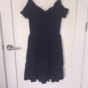 Tiered matte-jersey off-the-shoulder dress